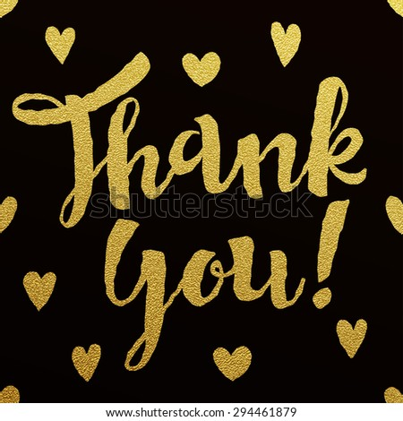 Thank you - gold glittering lettering design on black background with hearts pattern - stock vector