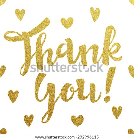 Thank you gold lettering design  - stock vector