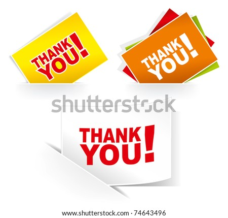 Thank you - grateful cards. Vector illustration. - stock vector