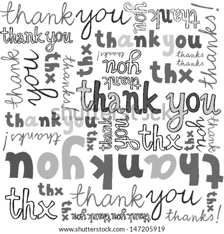 thank you gray black white hand written announce on white background graphic typographic seamless pattern