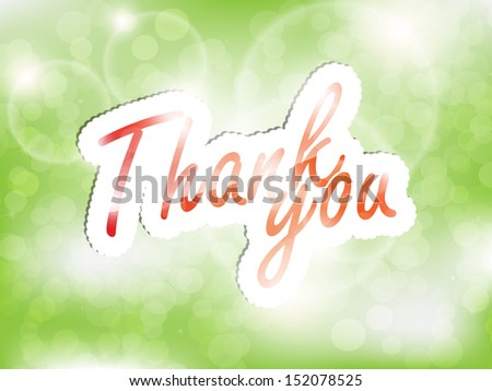 Thank you, green background with space for text. (EPS10 Vector) - stock vector