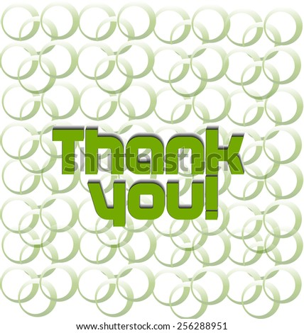 Thank you green words showing gratitude to friends. Card label background - stock vector