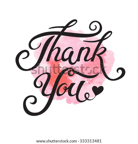 Thank You hand drawn lettering for vintage greeting card - stock vector