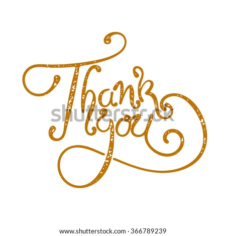 thank you hand drawn vector illustration. Tank You hand drawn lettering. Design element for greeting card. - stock vector