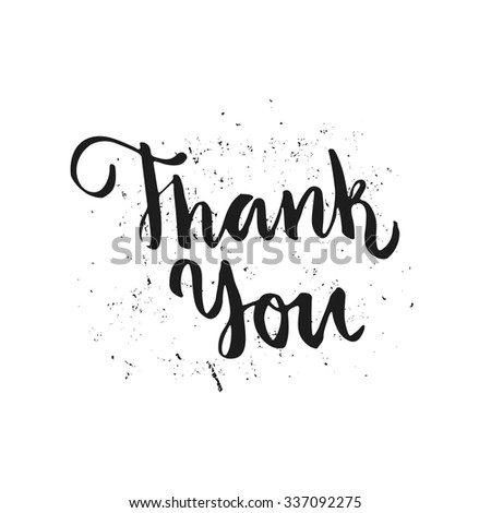 Thank you hand lettering. Brush script. Isolated element for invitation card or label. Vector illustration.