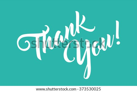 Thank you hand lettering calligraphy - stock vector