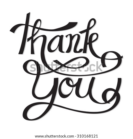 THANK YOU hand lettering calligraphy vector design eps 10 - stock vector