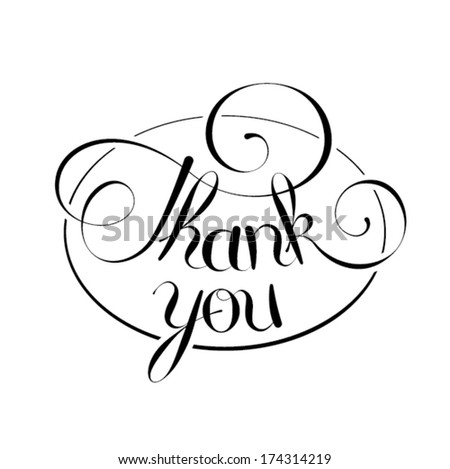 thank you, hand lettering, handmade calligraphy - stock vector