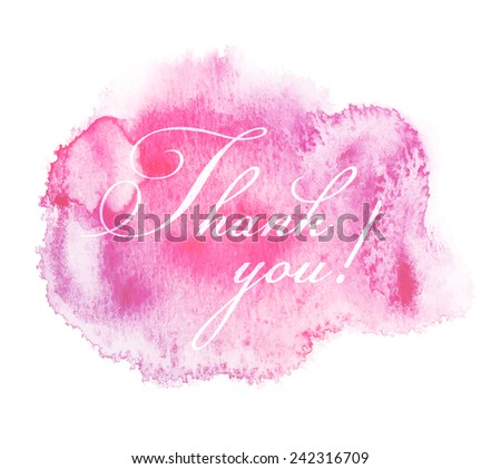 Thank You Hand lettering on Watercolor Vector Background - stock vector