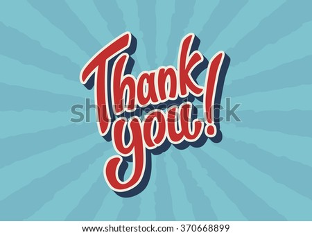 Thank You hand lettering text - stock vector