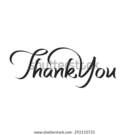 Thank You Hand Lettering Text Handmade Stock Vector