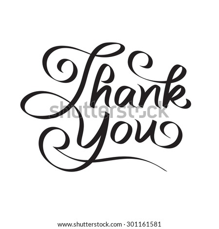 thank you hand lettering - text; handmade calligraphy; vector illustration - stock vector