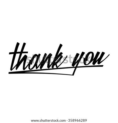Thank you hand lettering. Vector illustration. - stock vector