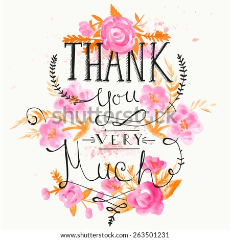 THANK YOU hand lettering with hand draw flower - stock vector