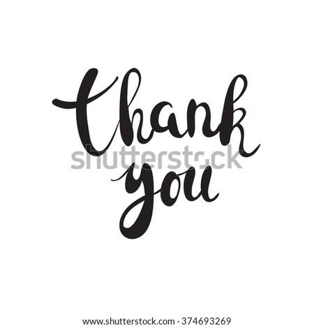 Thank you handwritten calligraphy vector illustration, Black brushpen lettering phrase on white background - stock vector
