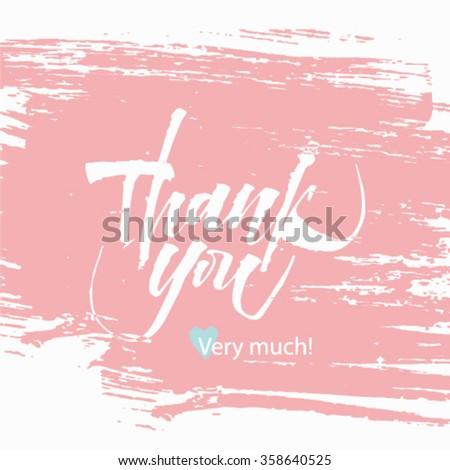 Thank you handwritten vector illustration, dark brush pen lettering isolated on pink background. Vector. - stock vector