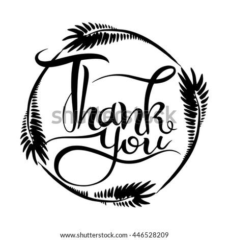 Thank you handwritten vector illustration, dark brush pen lettering isolated on white background - stock vector