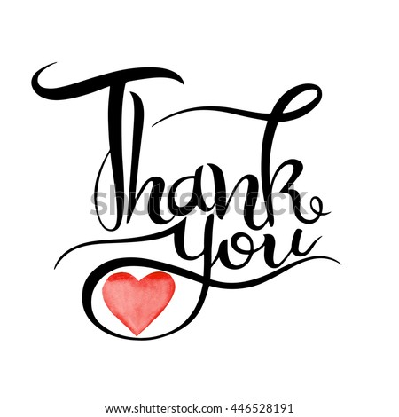 Thank you handwritten vector illustration, watercolor heart background, dark brush pen lettering isolated on white background - stock vector