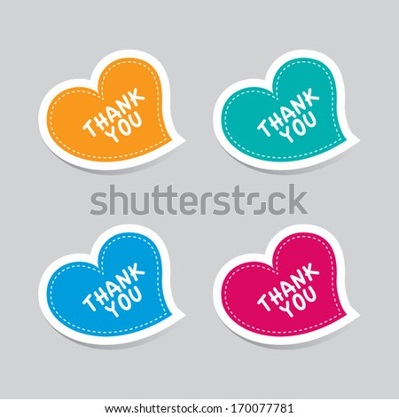 Thank You Heart Labels - stock vector