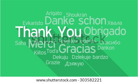 THANK YOU in different languages, words collage vector illustration