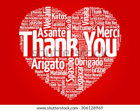Thank You in many languages love heart, red vector background - stock vector