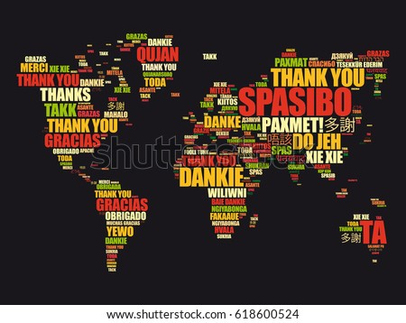 Thank you many languages world map vectores en stock 618600524 thank you in many languages world map in typography word cloud multilingual for education or gumiabroncs Image collections