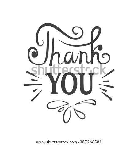 Thank You - ink hand drawn lettering. Modern brush calligraphy - stock vector