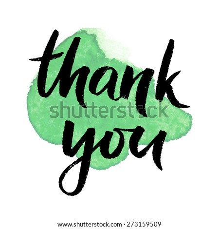 Thank you, ink hand lettering. Abstract watercolor background. - stock vector