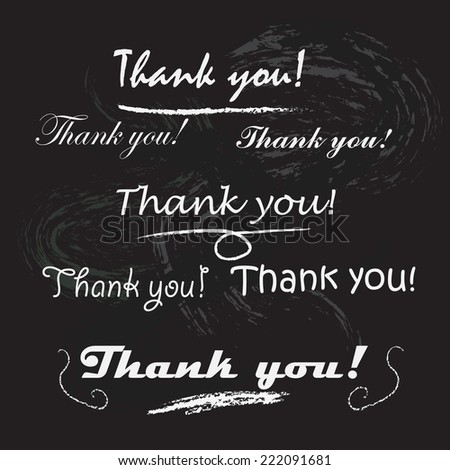 Thank you lettering. Chalk letters on the blackboard - stock vector