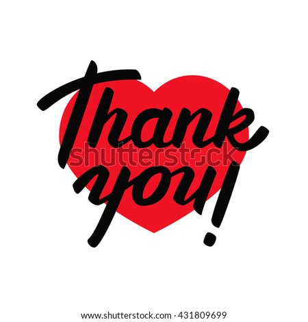 Thank you - lettering design. Hand lettering isolated on white background. Vector illustration. - stock vector