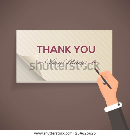 Thank You Lettering, Flat Style Pencil and Notebook Write Design - stock vector
