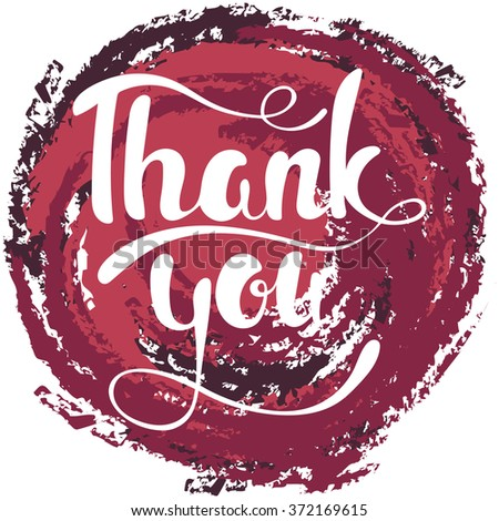 Thank you lettering. Hand written Thank you poster. Modern hand lettering. - stock vector