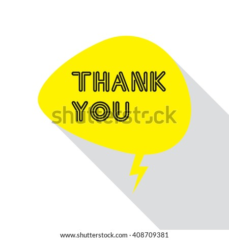 Thank you lettering on flat design with speech bubble icon. - stock vector