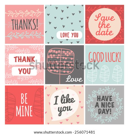 Thank you, love you, good luck vintage set - stock vector