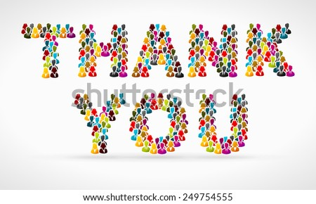 Thank you made from colorful people silhouettes - stock vector