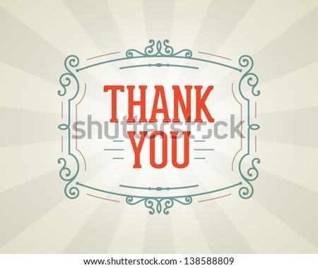 Thank you message and antique frame design element - stock vector