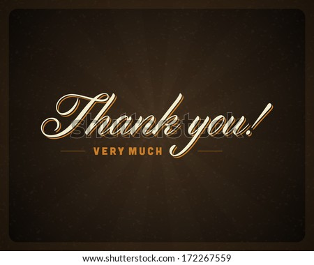Thank you message card retro lettering typography. Vector background. - stock vector