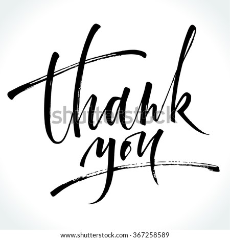 Thank You modern calligraphy. Brush painted letters. Vector illustration. - stock vector