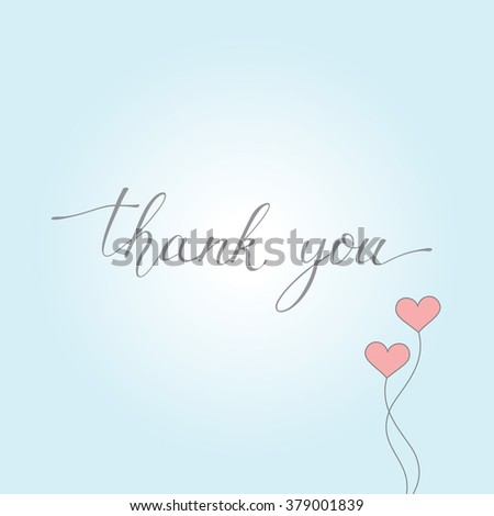 Thank you on blue background with balloons in the form of hearts. Hand drawn lettering. Vector illustration. It can be used for posters, postcards, covers, etc. - stock vector