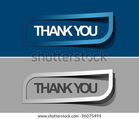 Thank you peel off vector web design element. - stock vector