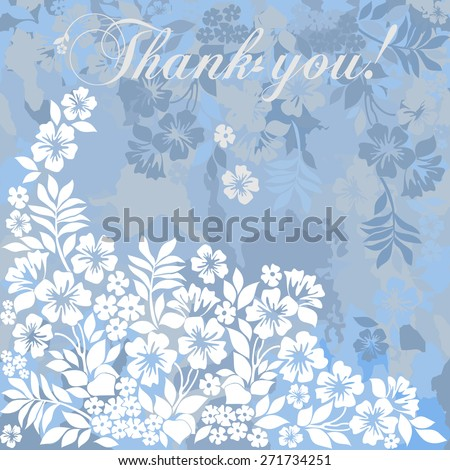 Thank you postcard. Denim and white color. Vector Version  - stock vector