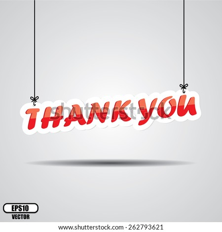 Thank you  Sign Hanging On Gray Background - EPS.10 Vector. - stock vector