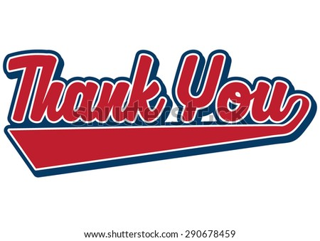 thank you sign in red and blue - stock vector