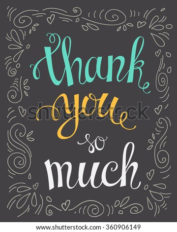 Thank you so mach hand lettering.Template for your design. Vector illustration - stock vector