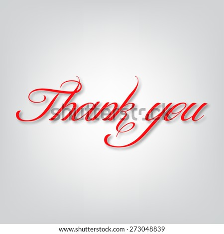 Thank you text on a gray background vector illustration
