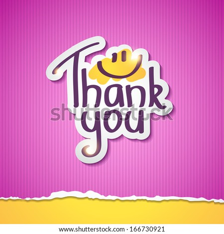 Thank You text on paper sticker, vector illustration - stock vector