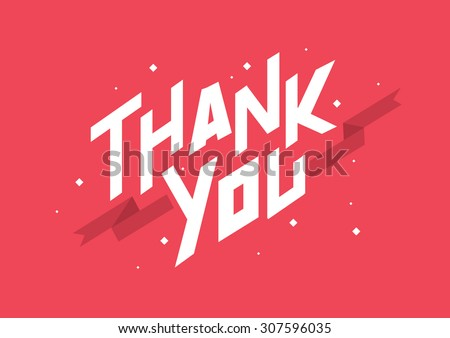 Thank you text typography/Greeting card template with text /Geometric font vector with ribbon element