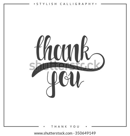 Thank you. The phrase handmade. Stylish, modern calligraphy. Elite calligraphy. Quote with swirls. Search for the design of brochures, posters, banners, web design. World Day of Thanks - stock vector
