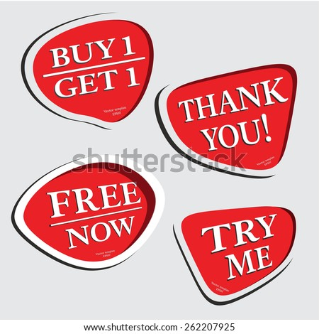 thank you,try me, free now, buy 1 get 1, bubble vector - stock vector