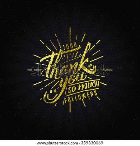 Thank you - typographic calligraphic lettering - stock vector